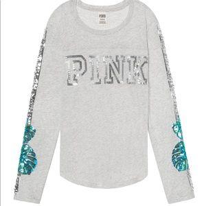 Pink VS grey football tee